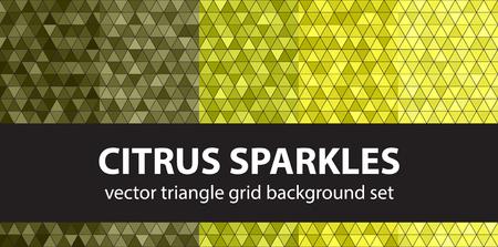 Triangular pattern set Citrus Sparkles geometric illustration.