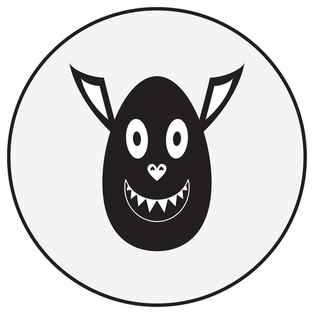 Vector monochrome illustration: cute monster character with ovoid head, pig nose and vampire ears