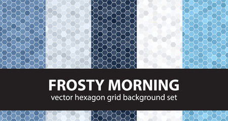 Hexagon pattern set Frosty Morning. Vector seamless geometric backgrounds: blue, gray and white hexagons on white backdrops