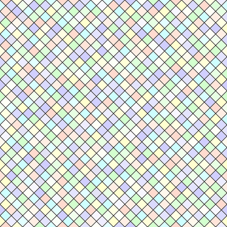 Diamond pattern. Seamless vector geometric background with violet, rose, cyan, yellow, green rhombs on black backdrop