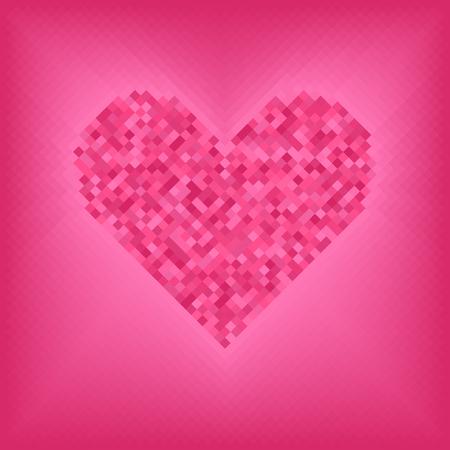Rose diamond heart on pink and rose background. Vector grid illustration Illustration
