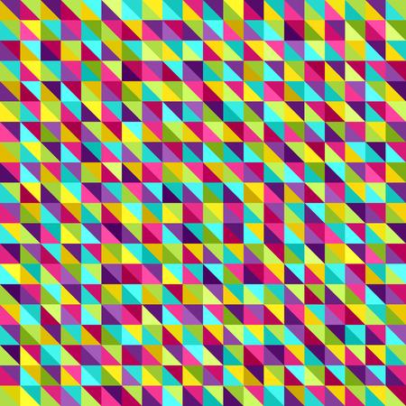Triangle pattern. Seamless vector background with cyan, yellow, rose, green, violet right triangles