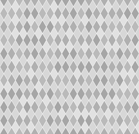 Diamond pattern. Seamless vector geometric background with light gray and dark gray lozenges on white backdrop Çizim