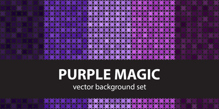 Abstract pattern set Purple Magic. Vector seamless backgrounds: amethyst, lavender, plum, purple, violet shapes on black backdrops