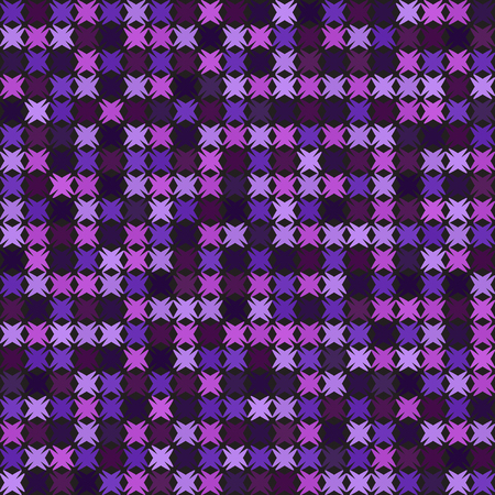 Abstract pattern. Seamless vector background: amethyst, lavender, plum, purple, violet shapes on black backdrop Illustration