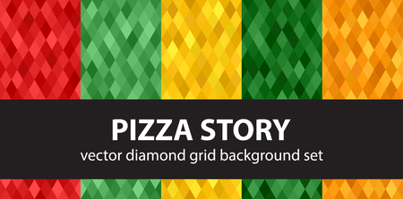 Diamond pattern set Pizza Story. Vector seamless geometric backgrounds with red, light green, yellow, green, orange diamonds Illustration