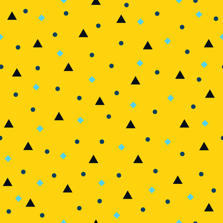Seamless vector geometric pattern: black triangles, blue circles, cyan rhombs on yellow backdrop