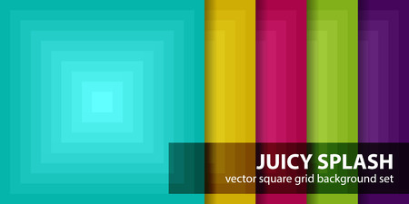 fondos violeta: Square pattern set Juicy Splash. Vector seamless gradient backgrounds with cyan, yellow, rose, green, violet squares Vectores