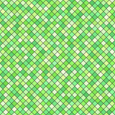 Diamond pattern. Seamless vector background: green square diamonds on black backdrop