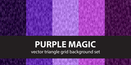 fandango: Triangle pattern set Purple Magic. Vector seamless geometric backgrounds with amethyst, lavender, plum, purple, violet triangles