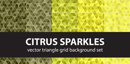 Pattern set Citrus Sparkles. Vector seamless geometric backgrounds: yellow, olive, yellow-green, khaki triangles
