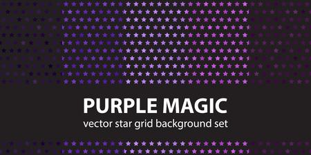 Star pattern set Purple Magic. Vector seamless backgrounds: amethyst, lavender, plum, purple, violet stars on black backdrops