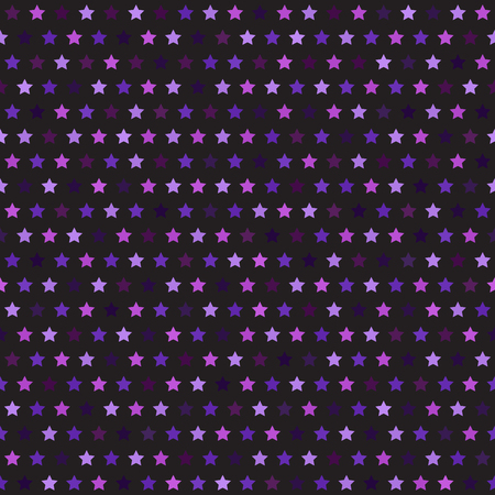 Star pattern. Seamless vector background: amethyst, lavender, plum, purple, violet stars on black backdrop