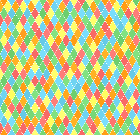 Diamond pattern. Seamless vector background with red, orange, yellow, green, blue lozenges on white backdrop
