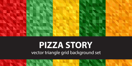 Triangle pattern set Pizza Story. Vector seamless geometric backgrounds with red, light green, yellow, green, orange right triangles Çizim