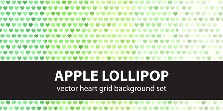 Heart pattern set Apple Lollipop. Vector seamless backgrounds with green hearts on white backdrop