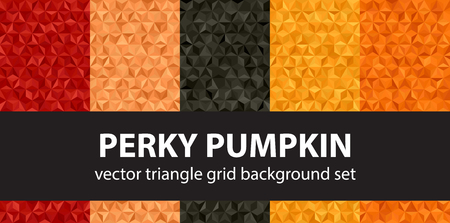 Triangle pattern set Perky Pumpkin. Vector seamless geometric backgrounds with red, peach, black, orange, pumpkin triangles