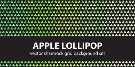 lucky clover: Shamrock pattern set Apple Lollipop. Vector seamless trefoil backgrounds: green shamrocks on black backdrops