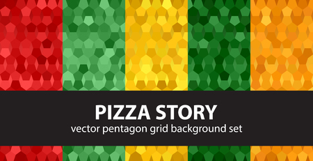 Pentagon pattern set Pizza Story. Vector seamless geometric backgrounds with red, light green, yellow, green, orange pentagons on gradient backdrops