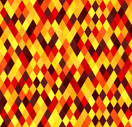Diamond pattern. Seamless vector geometric background with maroon, red, orange, gold, yellow diamonds Illustration