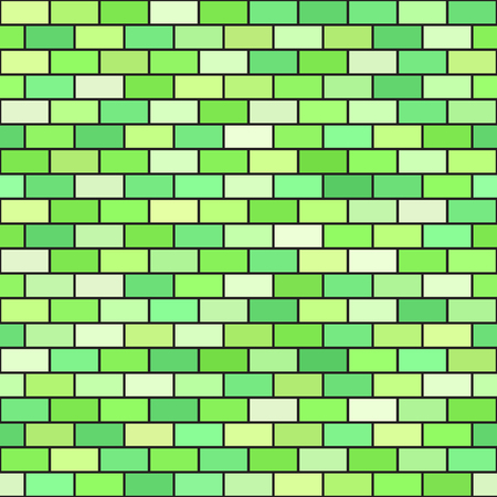 Brick pattern. Seamless vector brick wall background with green rectangles on black backdrop