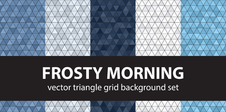 Triangle pattern set Frosty Morning. Vector seamless geometric backgrounds: blue, gray and white triangles on black backdrops