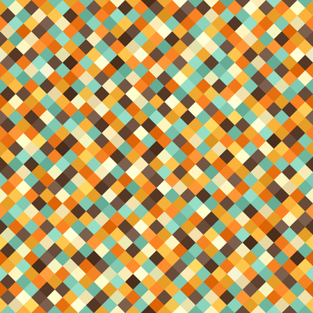 Diamond pattern. Vector seamless retro background with beige, brown, orange, yellow, green square diamonds Illustration