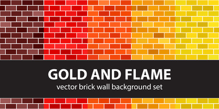 """Brick pattern set """"Gold and Flame"""". Vector seamless brick wall backgrounds: maroon, red, orange, gold, yellow rectangles on white backdrops"""