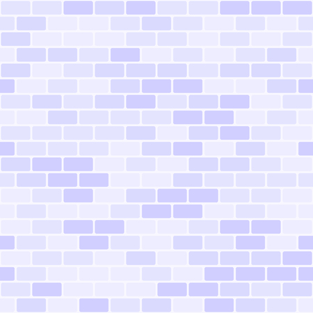 Violet brick wall pattern. Seamless vector brick background with lilac rounded bricks on light lavender backdrop