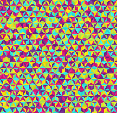 Triangle pattern. Seamless vector geometric background with cyan, yellow, rose, green, violet triangles Çizim