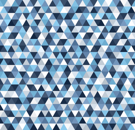 Triangle pattern. Seamless vector background with blue, gray and white triangles