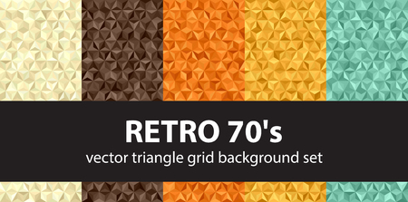 Triangle pattern set Retro 70s. Beige, brown, orange, yellow, green vector seamless retro backgrounds