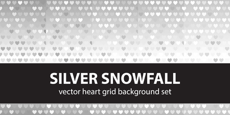 arsenic: Heart pattern set Silver Snowfall. Vector seamless backgrounds with gray and light gray hearts on gradient backdrops