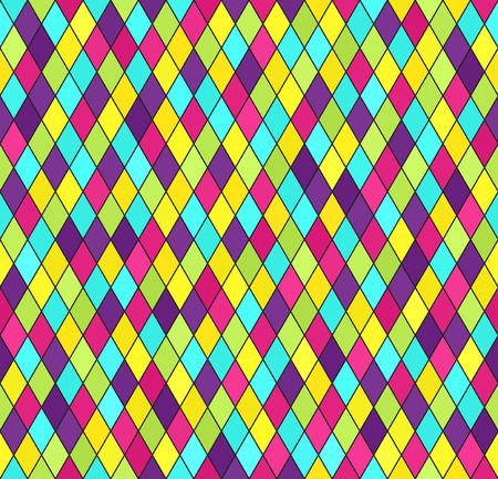 Diamond pattern. Vector seamless background with cyan, yellow, rose, green, violet diamonds on black backdrop