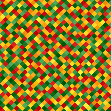 Diamond pattern. Vector seamless geometric pattern with red, light green, yellow, green, orange square diamonds