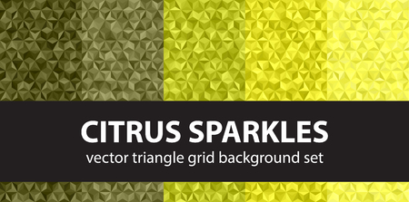 Triangle pattern set Citrus Sparkles. Vector seamless geometric backgrounds with yellow, olive, yellow-green, khaki triangles