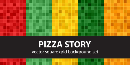 Square pattern set Pizza Story. Vector seamless geometric backgrounds with red, light green, yellow, green, orange squares on colored backdrops