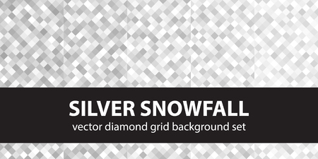 Diamond pattern set Silver Snowfall. Vector seamless geometric backgrounds with gray and white squaare diamonds Çizim