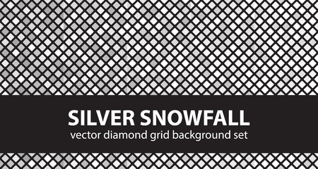 arsenic: Diamond pattern set Silver Snowfall. Vector seamless geometric backgrounds: gray and white rounded diamonds on black backdrops