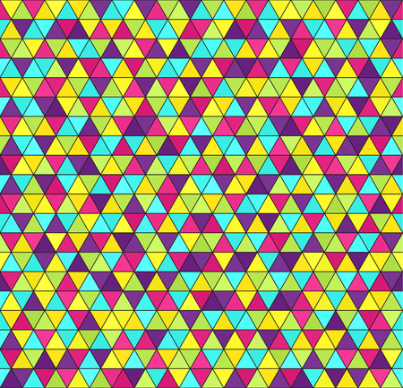 Triangle pattern. Vector seamless geometric background: cyan, yellow, rose, green, violet triangles on black backdrop