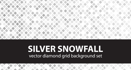 arsenic: Diamond pattern set Silver Snowfall. Vector seamless geometric backgrounds: gray and white rounded diamonds on white backdrops
