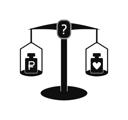 Monochrome vector illustration: pharmaceutical scales with two weights on different cups, rouble symbol is placed on one weight and heart symbol is placed on another