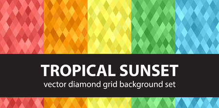 Diamond pattern set Tropical Sunset. Vector seamless geometric backgrounds with red, orange, yellow, green, blue diamonds Çizim