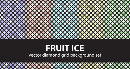 Diamond pattern set Fruit Ice. Vector seamless geometric backgrounds: violet, rose, cyan, yellow, green rounded diamonds on black backdrops Illustration