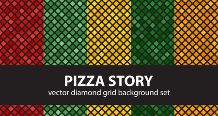 Diamond pattern set Pizza Story. Vector seamless geometric backgrounds: red, light green, yellow, green, orange rounded diamonds on black backdrops
