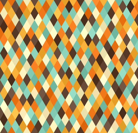 Diamond pattern. Seamless vector retro background with beige, brown, orange, yellow, green diamonds Illustration