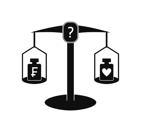Monochrome vector illustration: pharmaceutical scales with two weights on different cups, frank symbol is placed on one weight and heart symbol is placed on another
