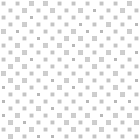 Square pattern. Seamless vector geometric background with gray squares of different size on white backdrop Çizim