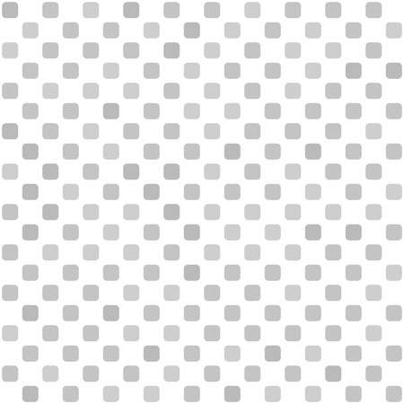 Square pattern geometric seamless vector: gray rounded squares on white backdrop