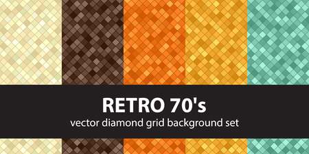 Diamond pattern set Retro 70s. Beige, brown, orange, yellow, green vector seamless geometric backgrounds